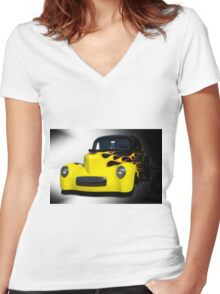 1941 Willys Coupe in Flames Women's Fitted V-Neck T-Shirt