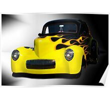 1941 Willys Coupe in Flames Poster