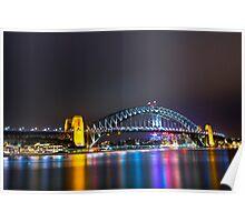 Sydney Harbour Bridge, Sydney, NSW, Australa - Night Time Lights Poster