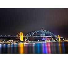 Sydney Harbour Bridge, Sydney, NSW, Australa - Night Time Lights Photographic Print