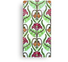 Pink and orange Art Nouveau flower tiles Canvas Print