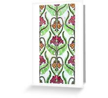 Pink and orange Art Nouveau flower tiles Greeting Card