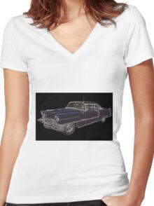 1950's Cadillac Eldorado Women's Fitted V-Neck T-Shirt