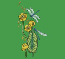 yellow water lilies and dragonflies One Piece - Short Sleeve