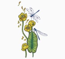yellow water lilies and dragonflies Baby Tee