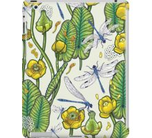 yellow water lilies and dragonflies iPad Case/Skin