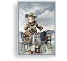 DD Hippo -Tea For Two titled Canvas Print