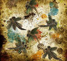 Dragonfly Flit Rustic Splash by lyndseyart
