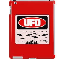 UFO, FUNNY DANGER STYLE FAKE SAFETY SIGN iPad Case/Skin