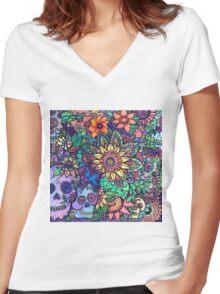 Colorful Sugar Skull Garden Zentangle Women's Fitted V-Neck T-Shirt
