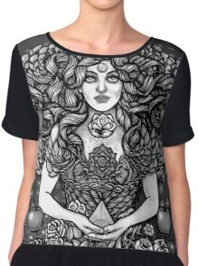 Divine Mother Gea Tree / BW Chiffon Top