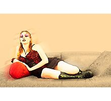 digitally enhanced picture of an arrogant model in red corset  Photographic Print