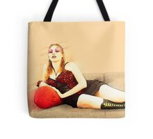 digitally enhanced picture of an arrogant model in red corset  Tote Bag