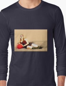 digitally enhanced picture of an arrogant model in red corset  Long Sleeve T-Shirt
