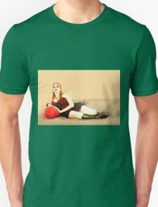 digitally enhanced picture of an arrogant model in red corset  Unisex T-Shirt
