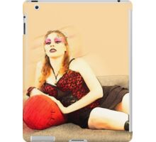 digitally enhanced picture of an arrogant model in red corset  iPad Case/Skin