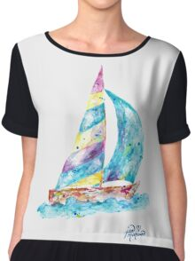 Sailboat no splots by Jan Marvin Chiffon Top