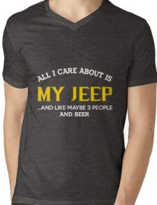 Jeep - All I Care About Is My Jeep And Like Maybe 3 People And Beer Mens V-Neck T-Shirt