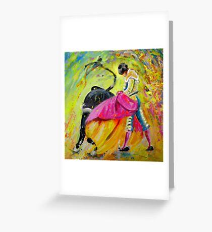 Bullfighting in Neon Light 01 Greeting Card