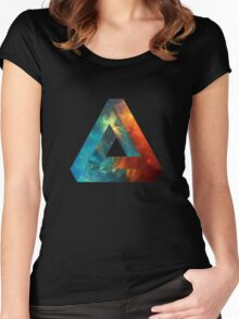 Abstract Geometry: Penrose Nebula (Fire Red/Orange/Blue) Women's Fitted Scoop T-Shirt