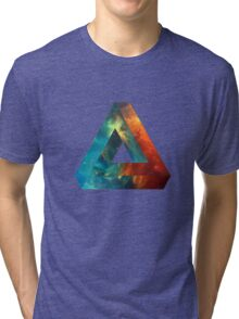 Abstract Geometry: Penrose Nebula (Fire Red/Orange/Blue) Tri-blend T-Shirt
