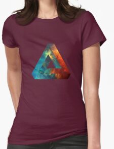 Abstract Geometry: Penrose Nebula (Fire Red/Orange/Blue) Womens Fitted T-Shirt