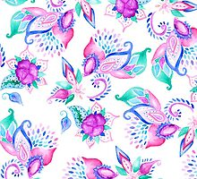 Modern pink turquoise hand painted floral paisley pattern illustration  by GirlyTrend