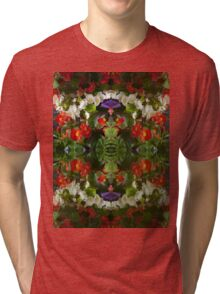 Flowers reflection by four Tri-blend T-Shirt