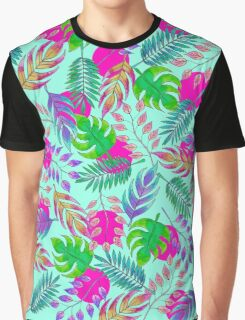 Tropical Leaves in Vibrant Watercolor Pattern Graphic T-Shirt