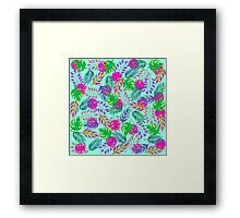 Tropical Leaves in Vibrant Watercolor Pattern Framed Print