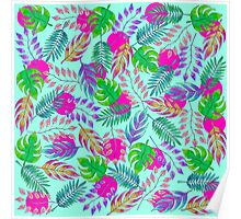 Tropical Leaves in Vibrant Watercolor Pattern Poster