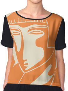 woman face 1928, orange Women's Chiffon Top