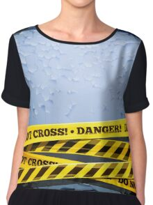 Grunge Vector Background With Danger Tapes Chiffon Top