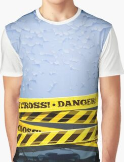 Grunge Vector Background With Danger Tapes Graphic T-Shirt