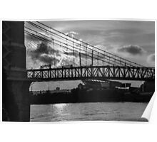 Cincinnati Suspension Bridge Black and White Poster