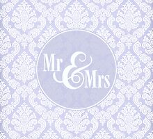 "Lavender Damask ""Mr & Mrs"" pillow by SimplyPut"