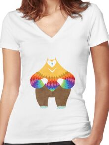 OwlBear Women's Fitted V-Neck T-Shirt