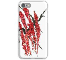 A branch of a blossoming cherry. Red flowers of sakura iPhone Case/Skin