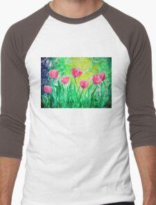 Dancing Tulips by Jan Marvin Men's Baseball ¾ T-Shirt