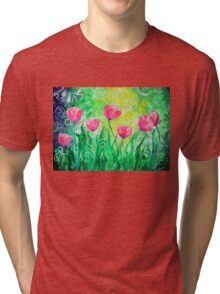 Dancing Tulips by Jan Marvin Tri-blend T-Shirt