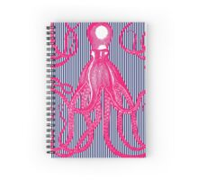 Hot Pink Antique Octopus with Navy and White Stripes Spiral Notebook