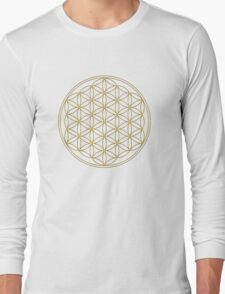 Flower of life - Gold, healing & energizing Long Sleeve T-Shirt