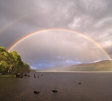 Loch Rannoch Rainbow + reflection bow by Tim Haynes