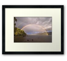 Loch Rannoch Rainbow + reflection bow Framed Print