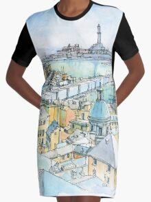 Il Porto (view of Genoa) Graphic T-Shirt Dress