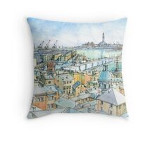 Il Porto (view of Genoa) Throw Pillow