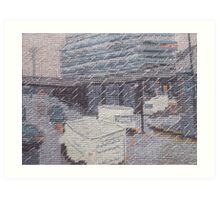 Rainy Barbican embroidery Art Print