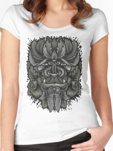 Filigree Leaves Forest Creature Beast Vintage Variant Women's Fitted Scoop T-Shirt