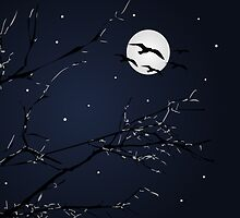 Night Birds and Full Moon by DFLCreative