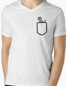 T-rex Pocket Mens V-Neck T-Shirt